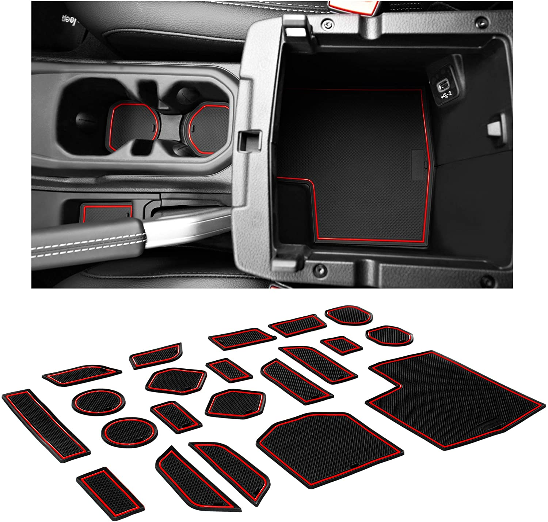 4 Pcs Kit,Black Trim LIGENT Cup Holder for Jeep Wrangler JL JLU Accessories 2018 2019 2020 2021 Sports Rubicon 2020 2021 Gladiator JT Interior Cup Liner Insert Coaster Mat Pad