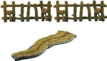 Pretmanns Fairy Garden Accessories Kit – Miniature Walkway & Fences – 3 Pieces