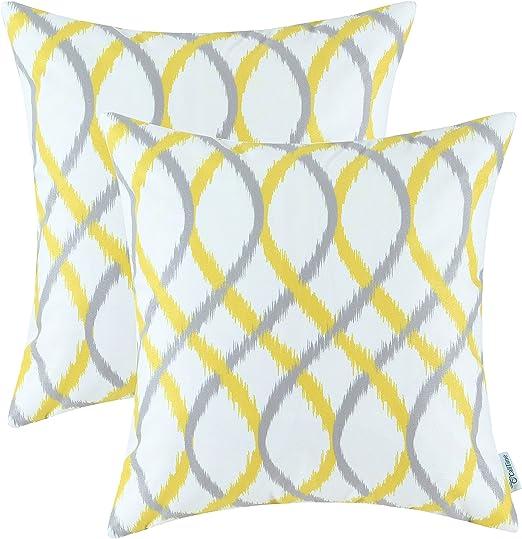 2Pcs Grey Orange Cushion Covers Pillows Shells Geometric Trellis Chain 45 x 45cm