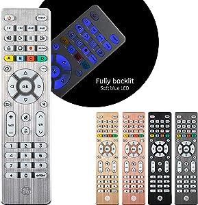 GE Backlit Universal Remote Control for Samsung, Vizio, LG, Sony, Sharp, Roku, Apple TV, RCA, Panasonic, Smart TV, Streaming Players, Blu-Ray, DVD, Simple Setup, 4-Device, Silver, 48844 (Renewed)