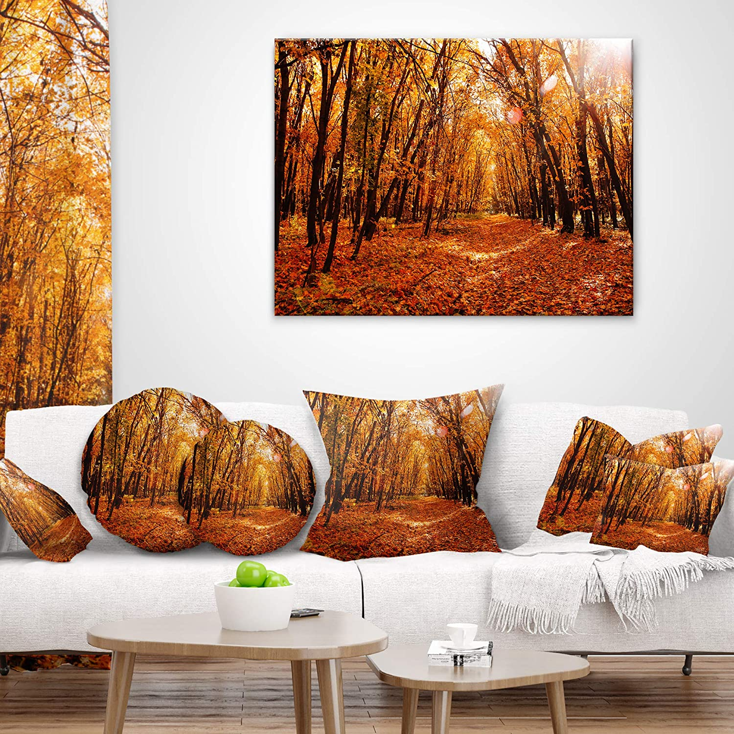 Designart CU9718-26-26 Yellow Falling Leaves in Forest Landscape Photo Cushion Cover for Living Room Insert Printed On Both Side x 26 in in Sofa Throw Pillow 26 in