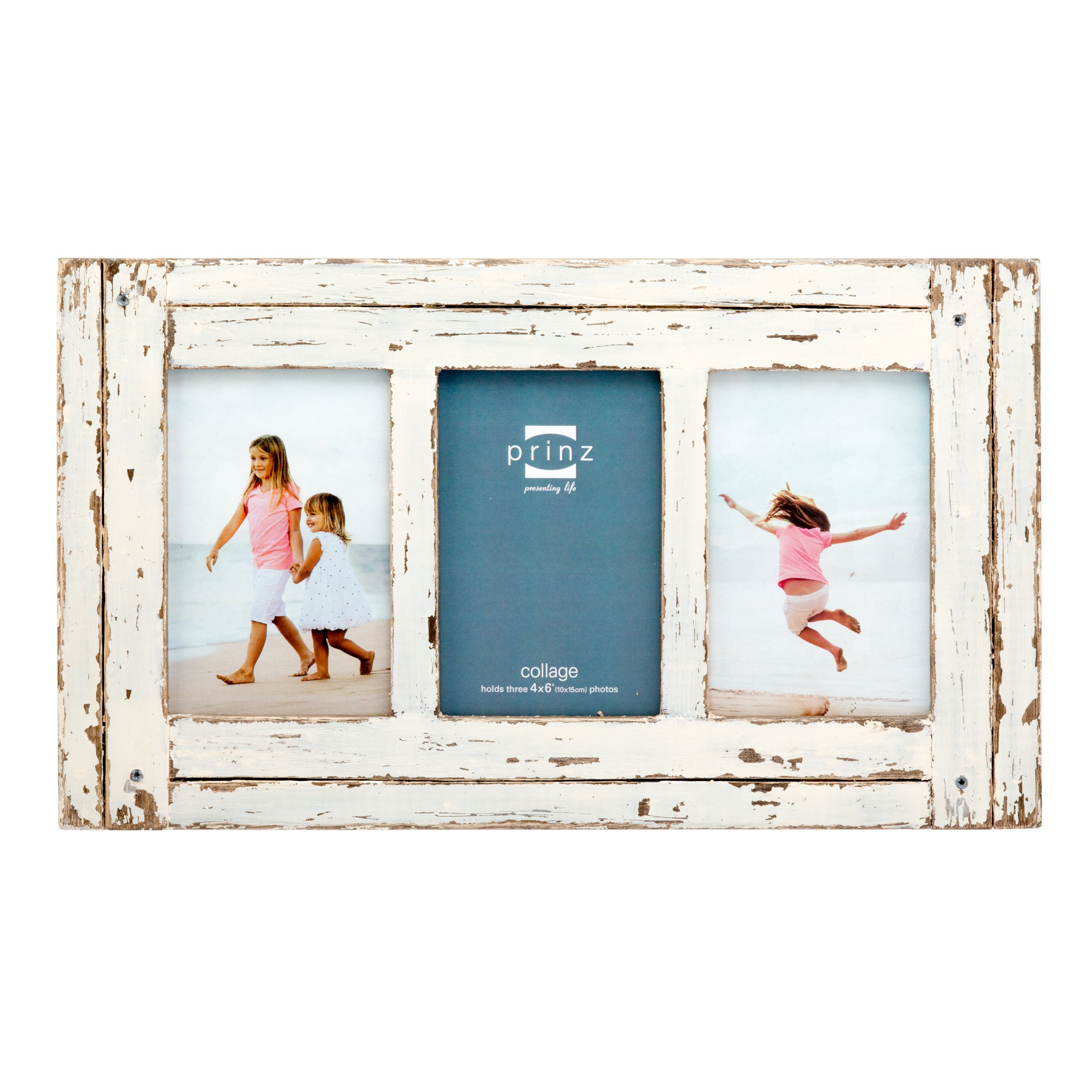 PRINZ 3 Opening Homestead Wood Collage Frame, 4 x 6, White by PRINZ