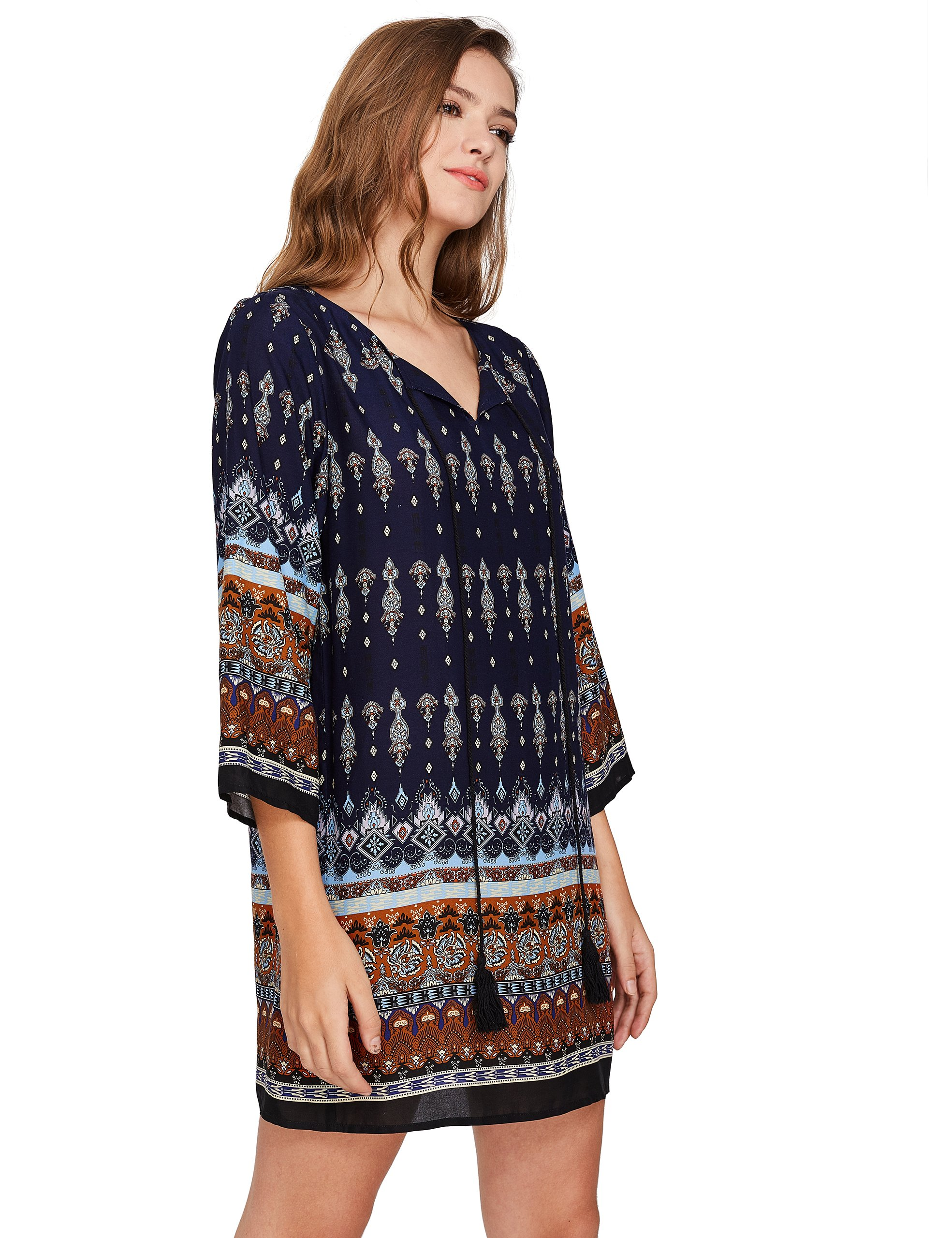 ROMWE Women's Boho Bohemian Tribal Print Summer Beach Dress Navy S by Romwe (Image #4)