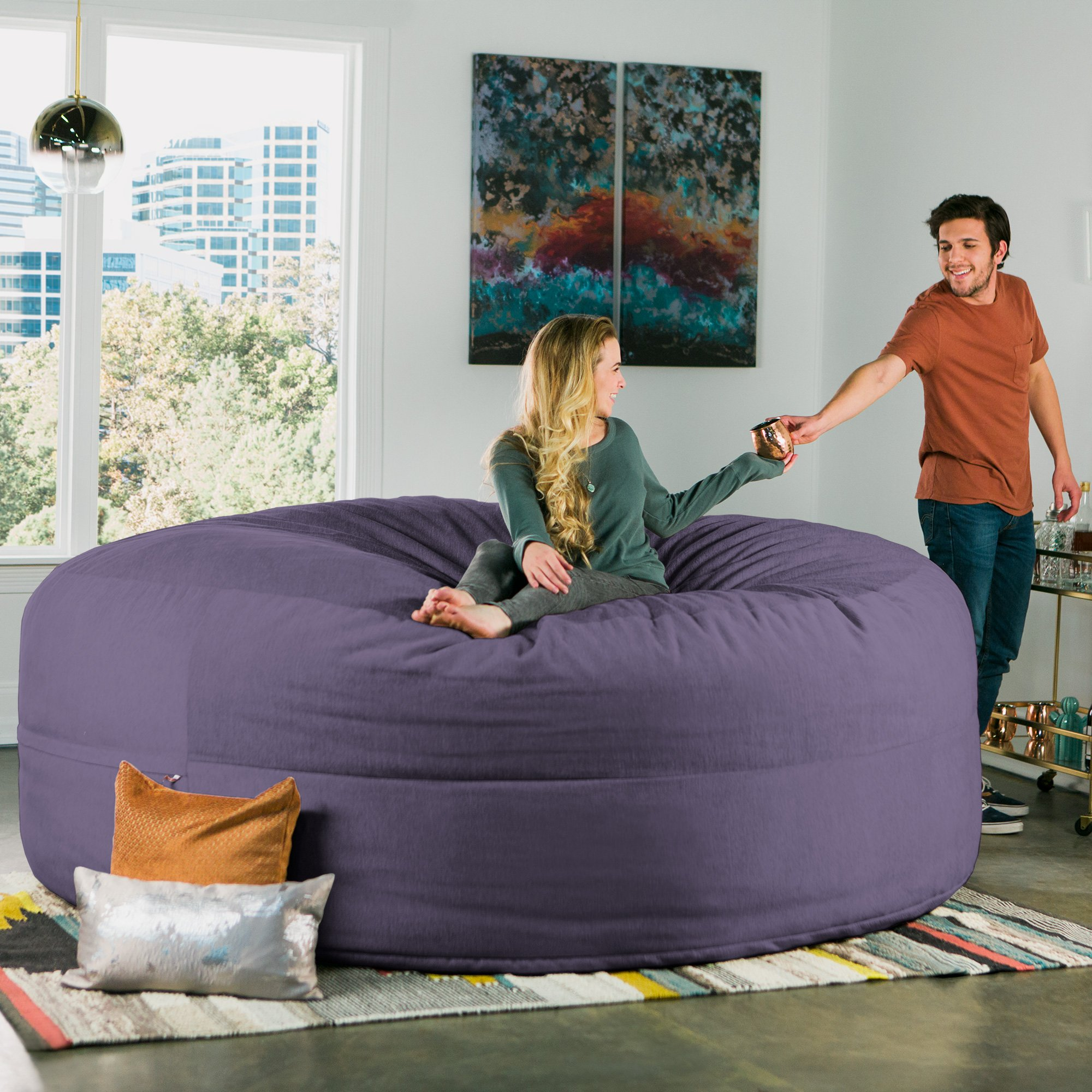 Jaxx Cocoon 8 Foot Huge Sleeper Bean Bag Bed - Chenille, Plum by Jaxx (Image #5)