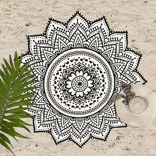 Indian creaciones - Lotus Algodón Blanco Negro Mandala ...