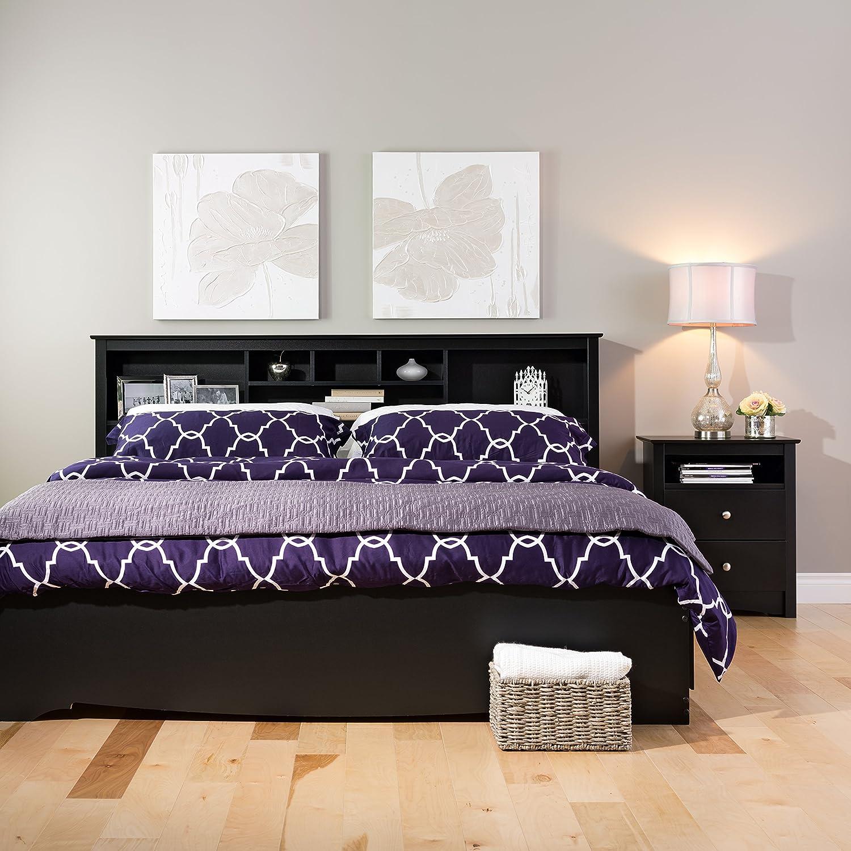 prepac sonoma black king storage headboard king bed