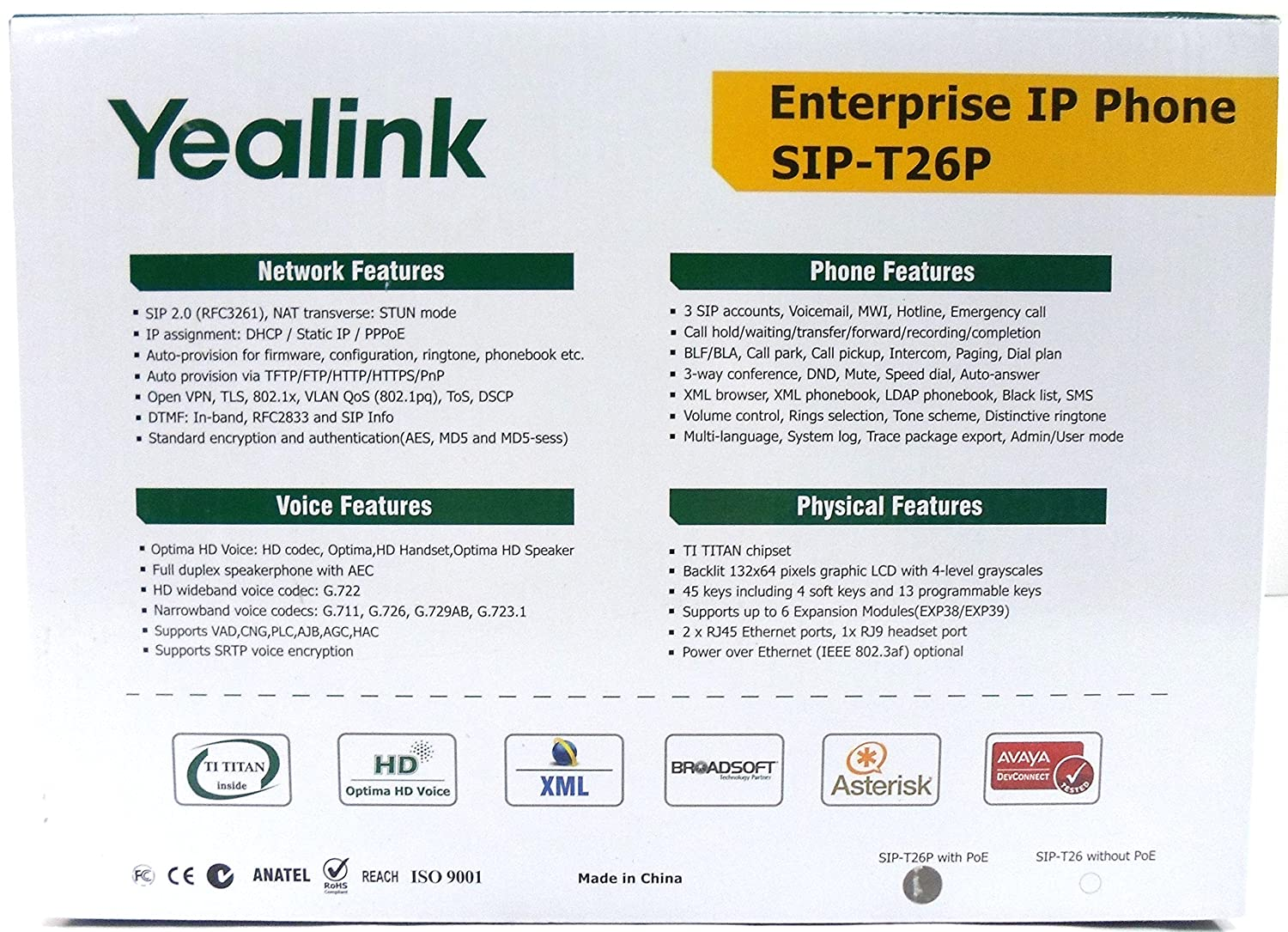 YEALINK SIP-T26P 13 Buttons Enterprise IP Phone with 6-Line