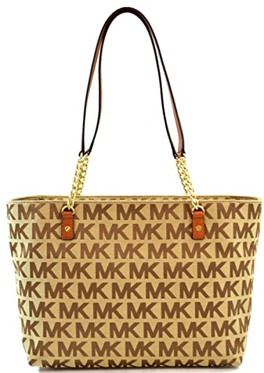 c54203a82206 Amazon.com: Michael Kors Jet Set Chain Item EW MK Signature Tote Purse  Shoulder Bag, Jacquard with Leather Straps, Work School Office, Beige Ebony  Luggage: ...