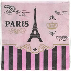 Amscan Party Supplies Day In Paris Beverage Napkins, One Size, Multi Color