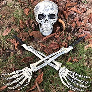 Chnaivy Realistic Skull Skeleton Stakes Halloween Graveyard Décor, Ground Breaker for Halloween Garden Yard Lawn Outdoor Decoration