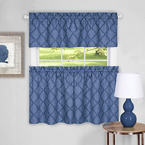 Sweet Home Collection Contemporary with Tier Pair and Valance, 36 , Blue