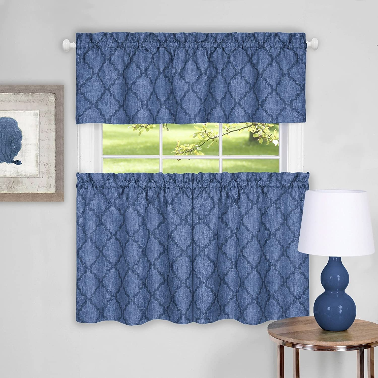 """Sweet Home Collection 3 Piece Kitchen Curtain Set Contemporary Design Pair and Valance, 36"""" Tier, Blue"""