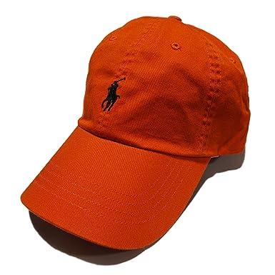 549f831c POLO RALPH LAUREN Men Big Pony Chino Baseball Cap Sport Hat LEATHER STRAP  Orange Herren-Accessoires
