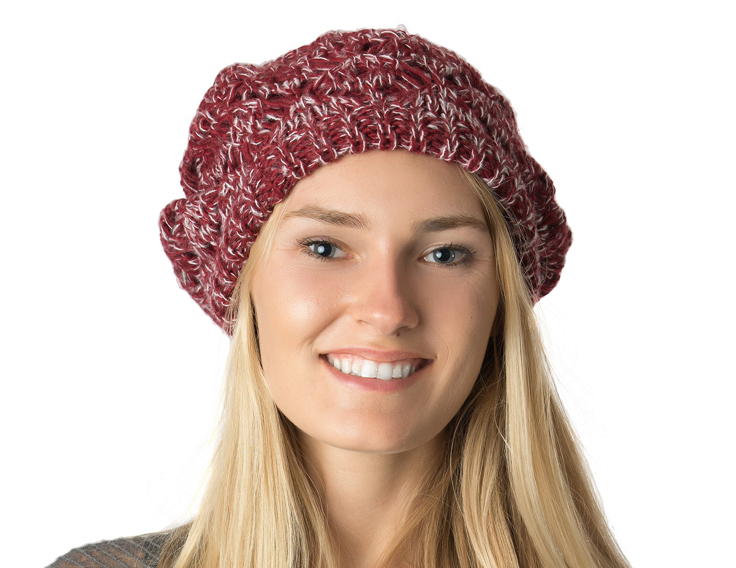 Accessory Necessary AN Fall Winter Knit Beanie Beret Hat for Women Soft Knit Lining Many Styles (Burgundy Speckled Crochet)