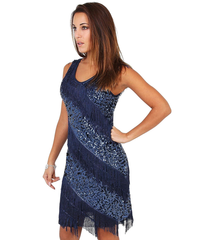KRISP® Damen Funkelnde 20er Jahre Swing Kleider Pailetten oder ...