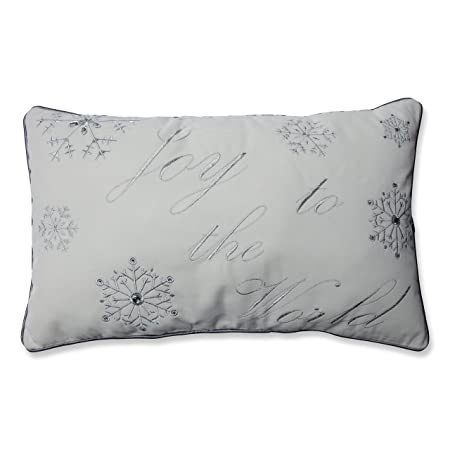 Pillow Perfect Joy to The World Embroidered Rectangular Throw Pillow, Silver White
