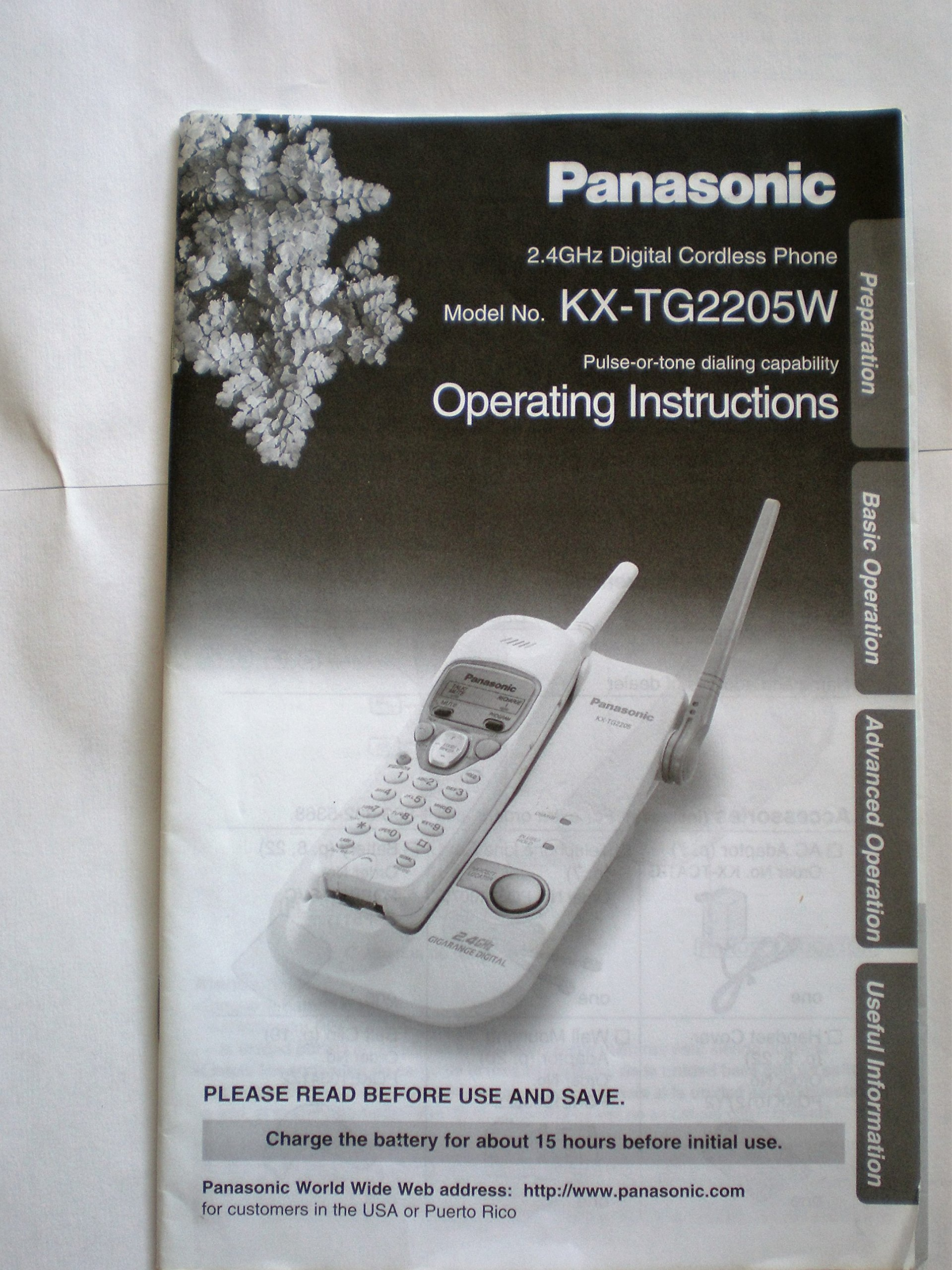 Panasonic 24 Ghz Digital Cordless Phone Model No Kx Tg22005w