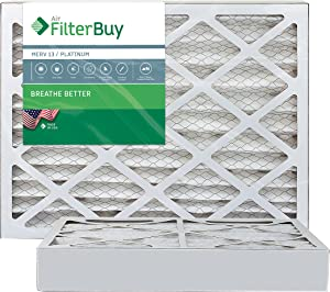 FilterBuy 16x25x4 MERV 13 Pleated AC Furnace Air Filter, (Pack of 2 Filters), 16x25x4 – Platinum