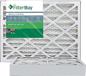 FilterBuy 16x20x4 MERV 13 Pleated AC Furnace Air Filter, (Pack of 2 Filters), 16x20x4 – Platinum