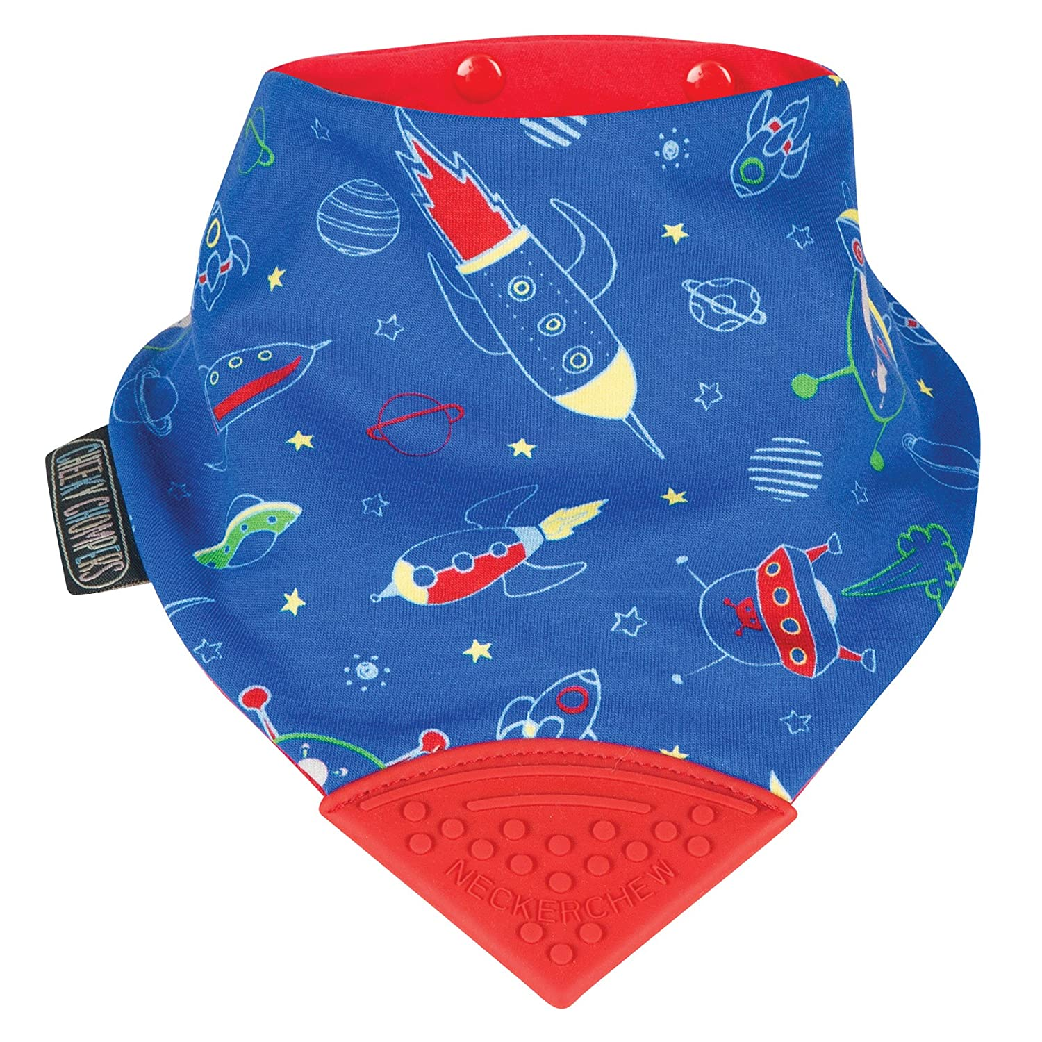 Cheeky Chompers CC029 Neckerchew Bib, Blue/red