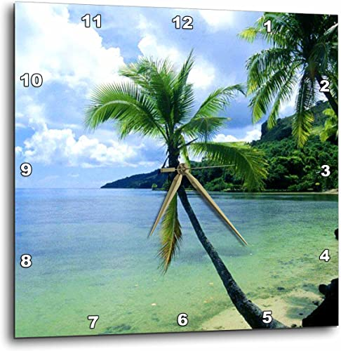 3dRose DPP_1205_3 Tropical Paradise Wall Clock, 15 by 15-Inch