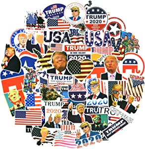 America President Trump Stickers 50pcs, Laptop Stickers for Water Bottle, Flask, Skateboard, Phone Case, Cars, Bumper, Waterproof Aesthetic Vinyl Decals for Teens, Adults, Cool Trendy Sticker Pack