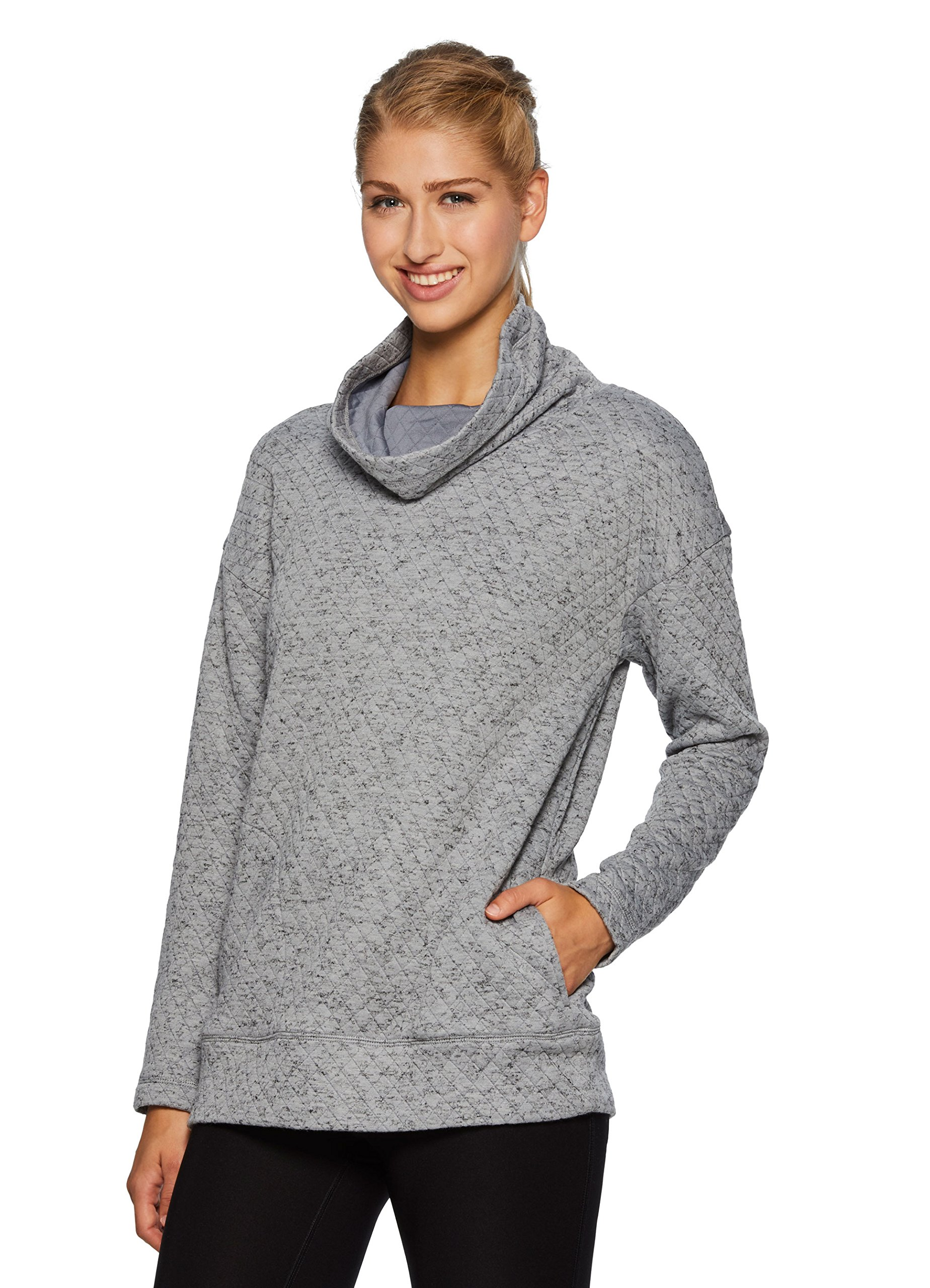 RBX Active Women's Ultra-Soft Quilted Cowl Neck Pullover Gray M