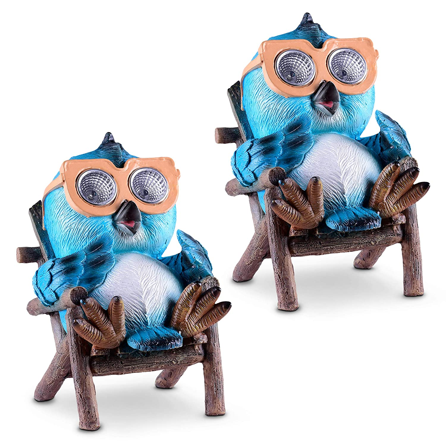 Blue - 2 Pack Light Up Decorative Statue Accents for Yard Lawn Weather Resistant Outdoor LED Decor Figure Great Housewarming Gift Idea Owl Solar Garden Decorations Figurine Patio or Deck