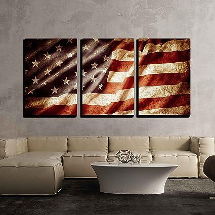 Amazon.com: wall26 - Closeup Grunge American Flag - Canvas Art Wall ...