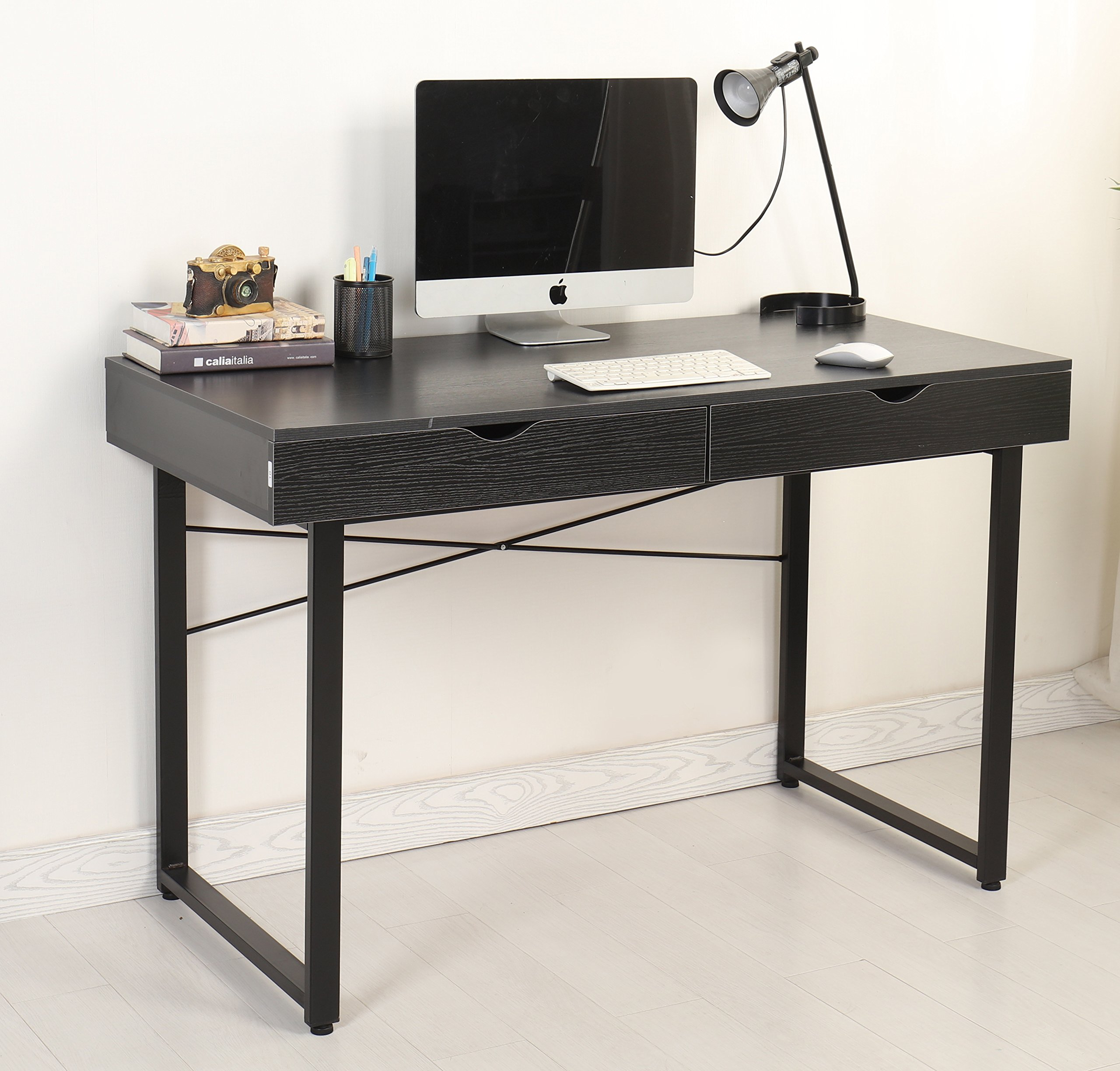 Mr Ironstone Modern Computer Desk 47'' PC Laptop Study Writing Table Multipurpose Workstation for Home Office Computer Table with 2 Drawers, Leg Reinforcement, Black