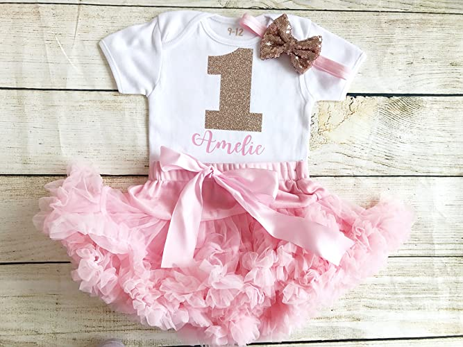 f5be8a6de Image Unavailable. Image not available for. Colour: Personalised Rose Gold  & Pink First Birthday Tutu Outfit ...