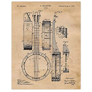 Vintage Banjo Patent Poster Print, Set of 1 (11x14) Unframed Photo, Wall Art Decor Gifts Under 15 for Home, Office, Garage, Man Cave, College Student, Teacher, Musician, Country & Bluegrass Music Fan
