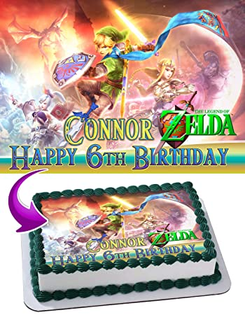 The Legend Of Zelda Topper Personalized Birthday 1 4 Sheet Decoration Custom Party