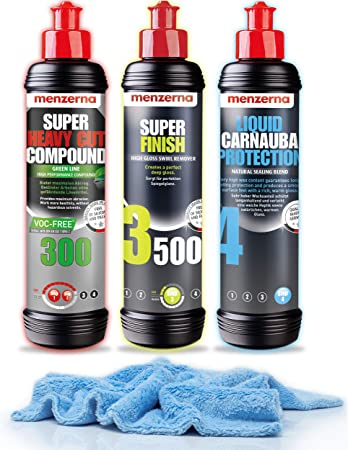 Detailmate Auto Politur Set Menzerna Autopolitur Super Heavy Cut Compund Hc300 Super Finish Sf3500 Liquid Carnauba Protection 250 Ml Extra Langfloriges Mikrofaser Poliertuch 550 Gsm Auto
