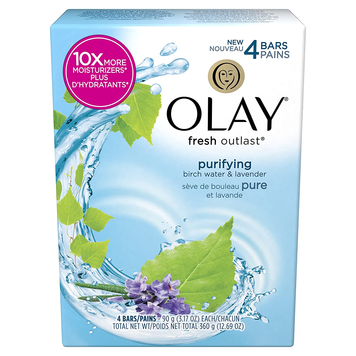 Olay Fresh Outlast Purifying Birch Water & Lavender Beauty Bar 90g 4 count Procter and Gamble