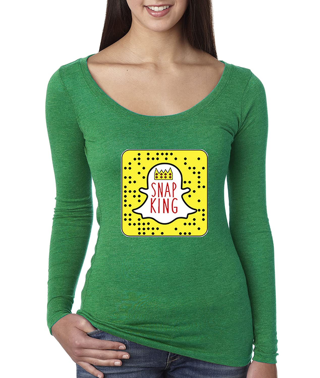 Envy New Way 428  Women's Long Sleeve TShirt Snap King Snapchat App Ghost Parody