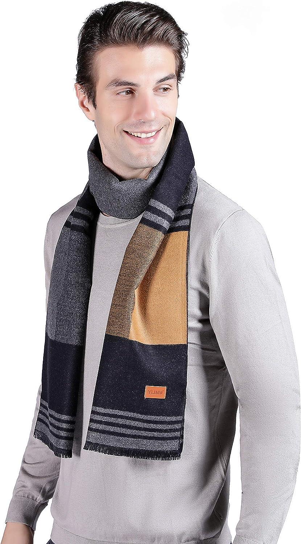 YLIMW Mens Winter Scarf Cashmere Feel Plaid Striped Scarves for Men Fashion  Scarves