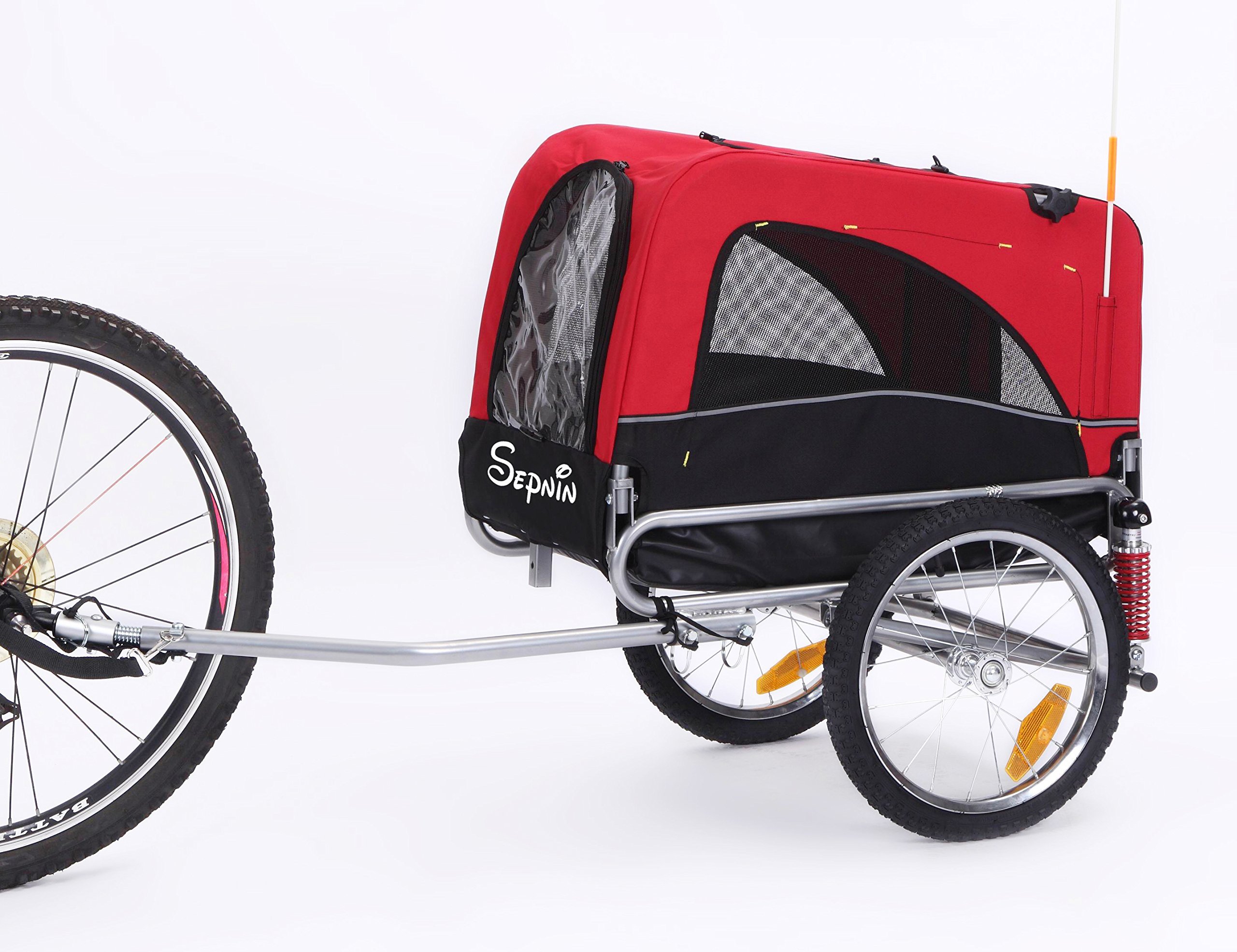 Sepnine 2 in 1 Small Sized Bike Trailer Bicycle Pet Trailer/ Dog Cage 10308S (Red/ Black)