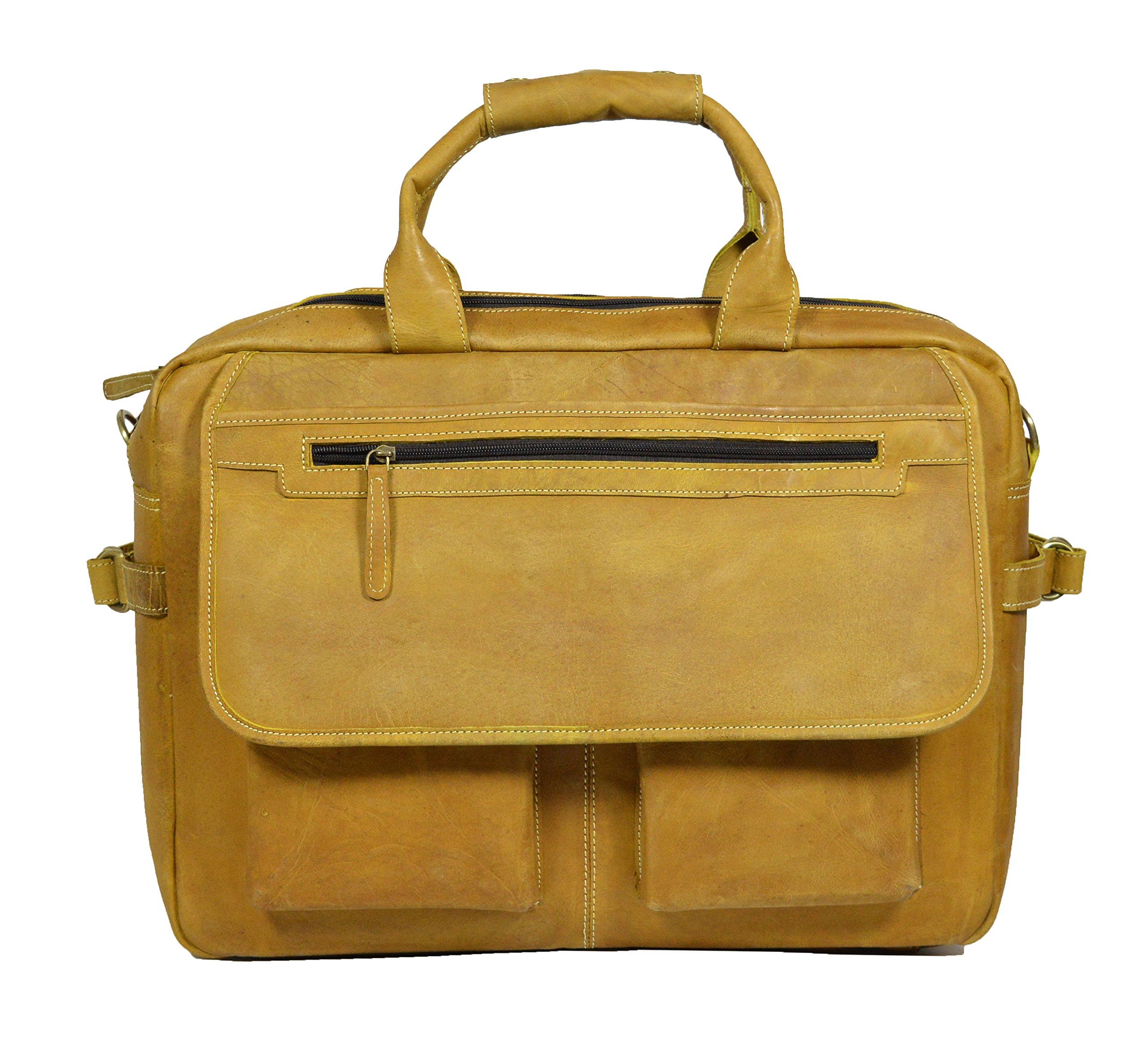 ADIMANI Vintage Crazy Horse Hunter Leather Laptop Briefcase Bag Notebook Case Travel Messenger Bag 18x13 inches