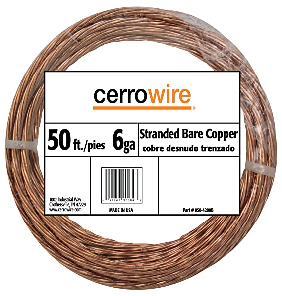 CERRO 050-2400A3 Feet 4-Gauge Bare Solid Copper Wire, 15-Foot ...