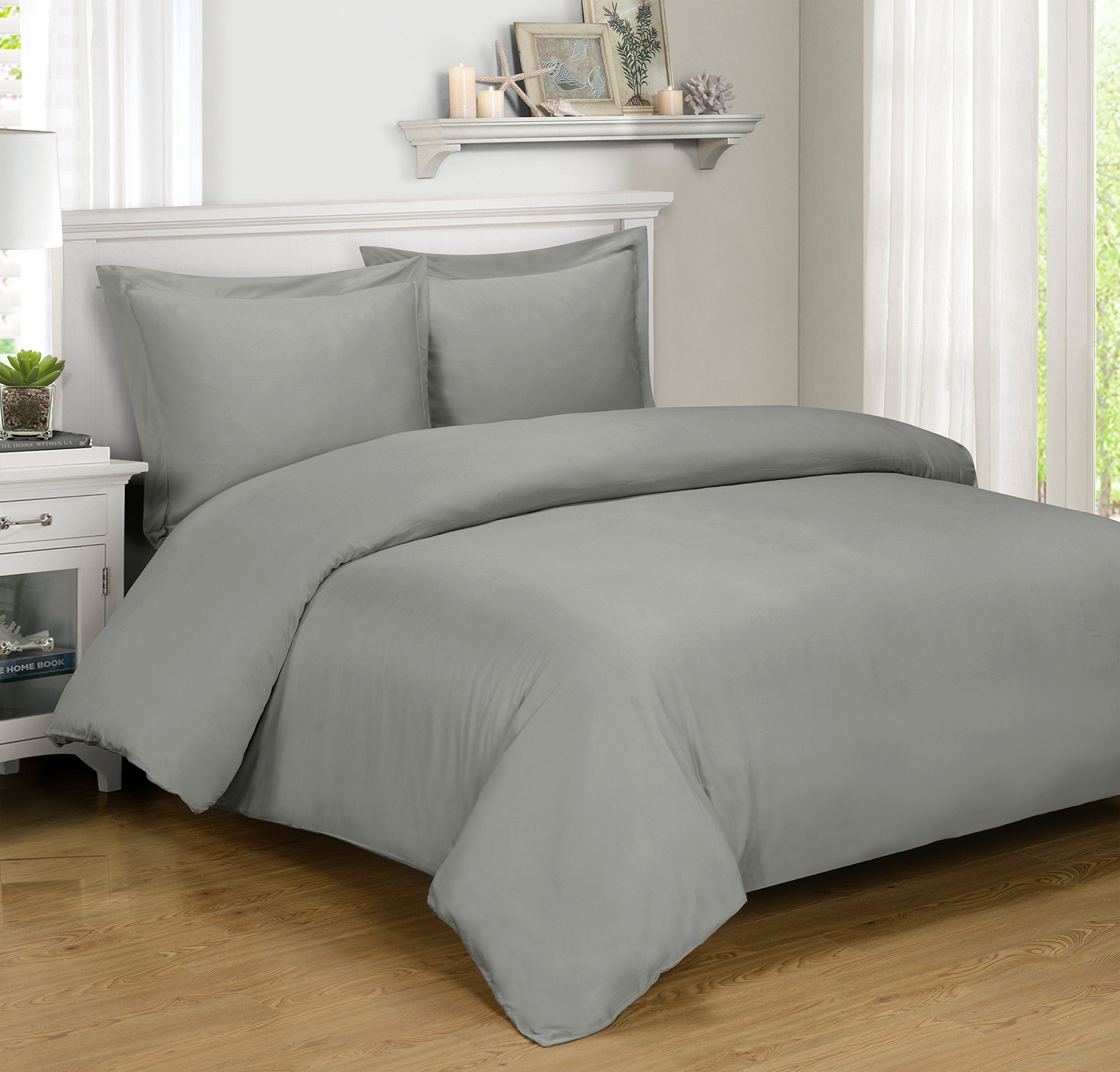 Royal Hotel BAMBOO Duvet Cover 100% BAMBOO Viscose Comforter Cover - Duvet Cover Set with Corner Ties and Button Closer, Full/Queen size Gray