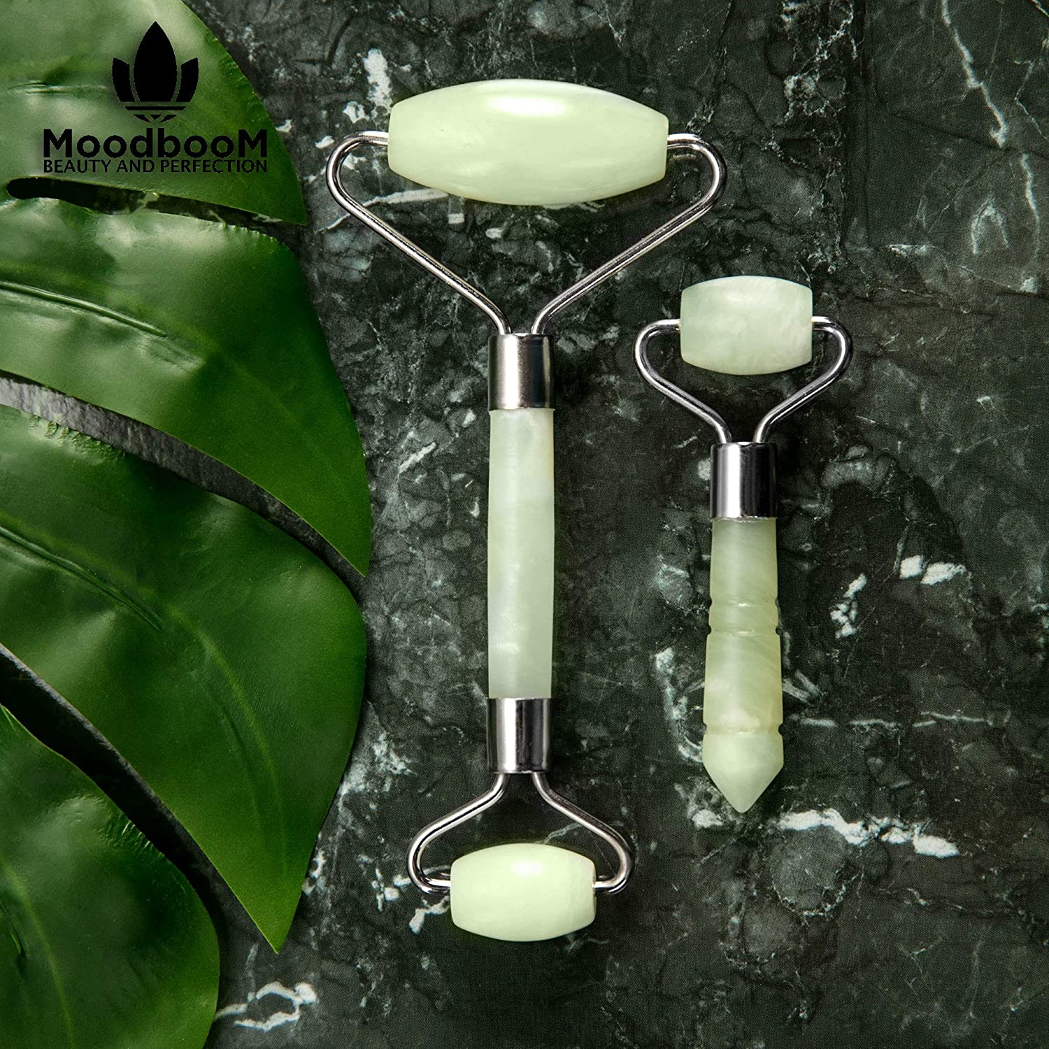 Amazon.com : Best Jade Roller for Face Eyes and Neck - Premium Set of 2 Double End Jade Facial Roller and Bonus Eye Massager Made of Natural Jade Stones ...