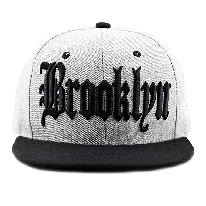 d178e693a5f THE HAT DEPOT 1300DHGBKN Designed Heather Grey Brooklyn Snapback Cap (Black)