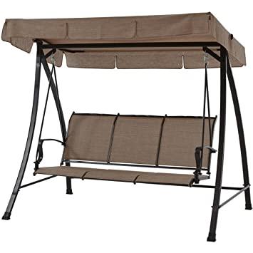Mainstays Wesley Creek Porch Swing For 3 Person (Brown)