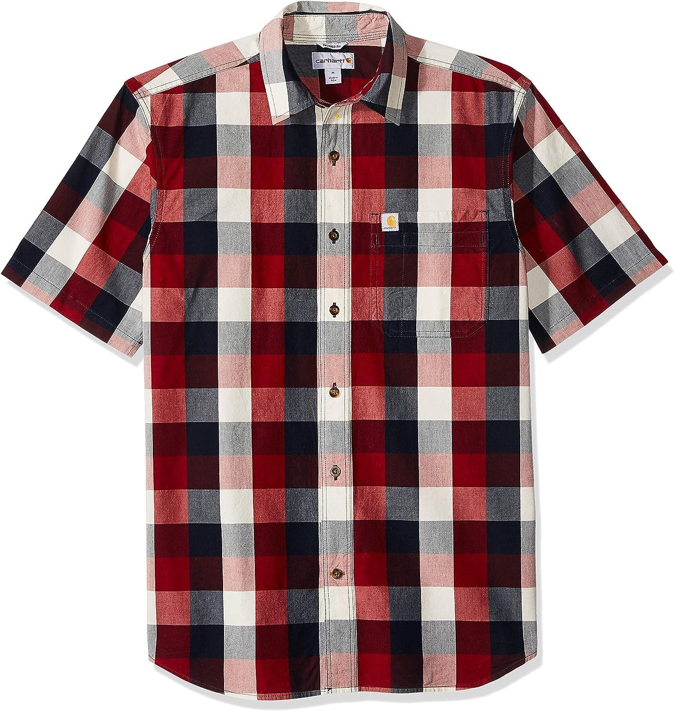 Carhartt Men's Essential Plaid Open Collar Short Sleeve Shirt