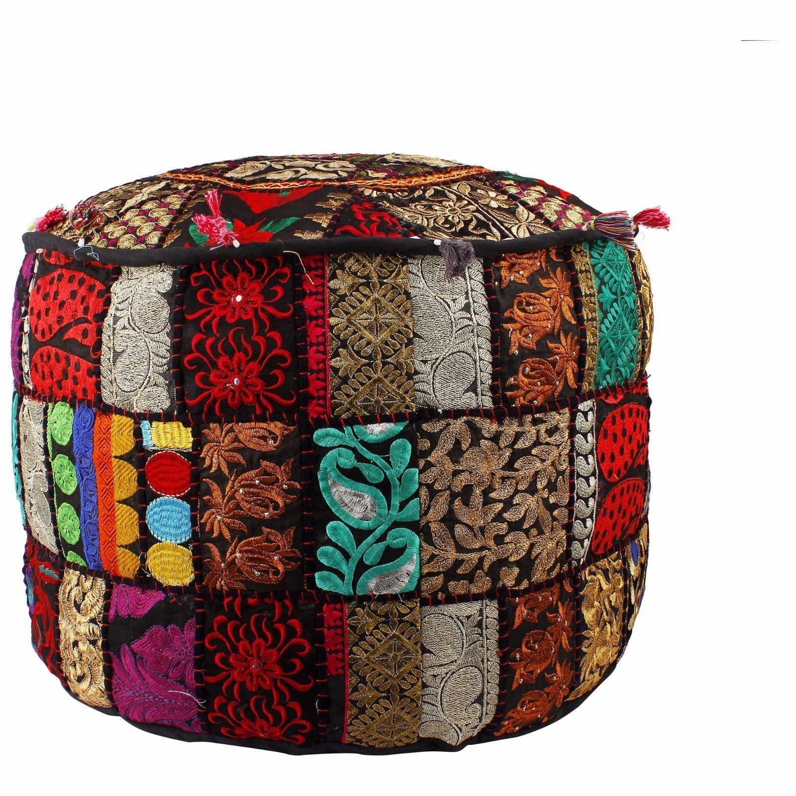 GANESHAM Indian Living Room Decor Vintage Embellished With Patchwork Hand Embroidered Handmade Floor Pouf Ottoman Boho Chic Bohemian Ethnic Traditional Round Footstool Bean Bag (22 inch dia.)