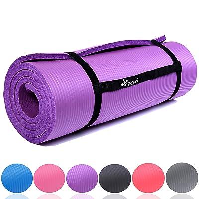 TRESKO Tapis d'exercice fitness tapis de yoga tapis de Pilates tapis de gymnastique, 6 couleurs au choix, Dimensions 185 cm x 60 cm, 2 épaisseurs / sans Phtalates / en Mousse NBR / respecte la peau, souple, isolante au