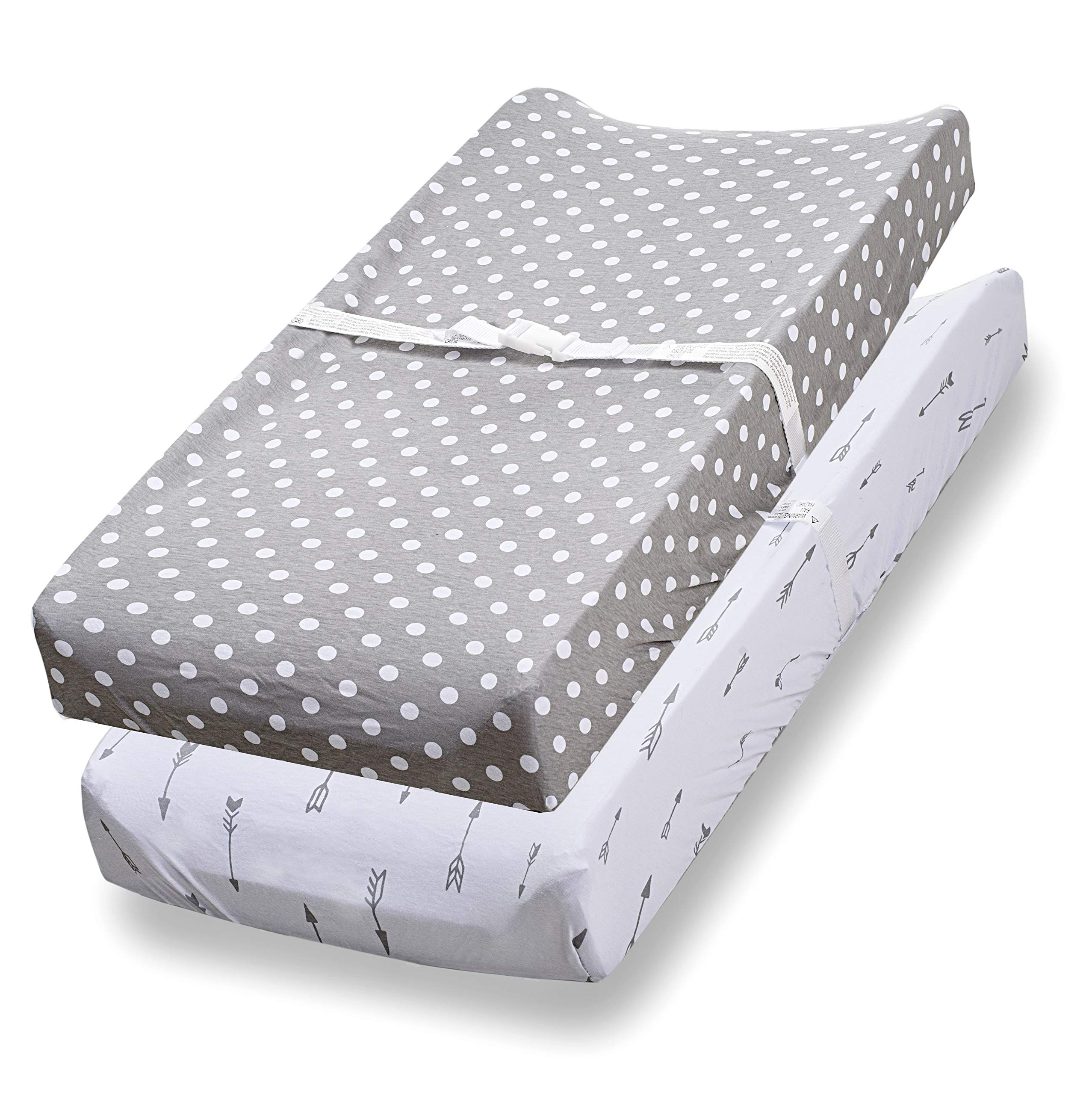 Changing Pad Cover, 2 Pack, 100% Jersey Cotton Unisex Sheets for Baby Girl and Boy, Grey Arrows and Polka Dots by Consciously by Consciously