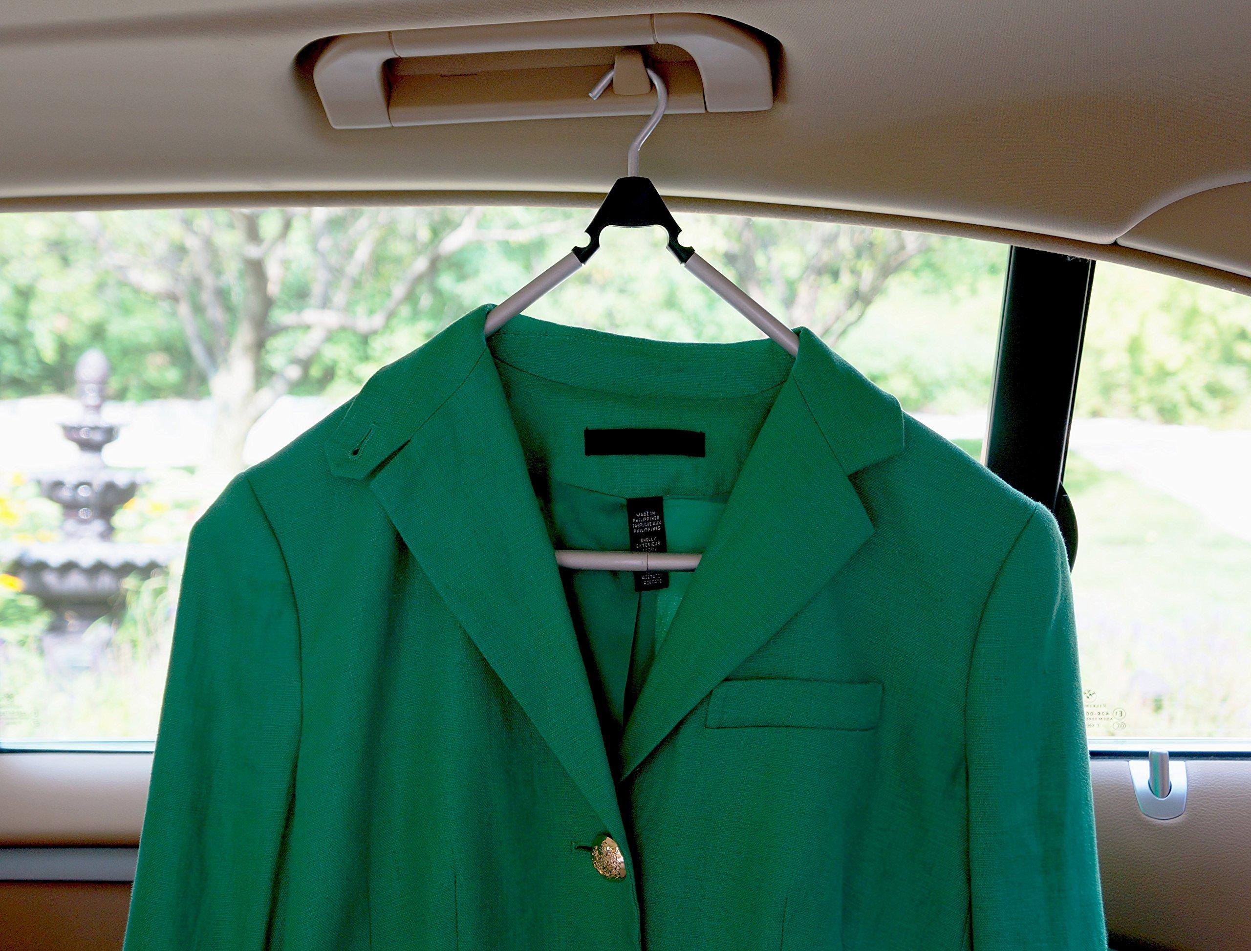 Travel Hanger, Car Hanger, Clothes Hanger- Foldable Hanger, Folding Hanger, Collapsible Hanger, Portable Hanger (Matte Silver & Black) (2) by Boottique (Image #3)