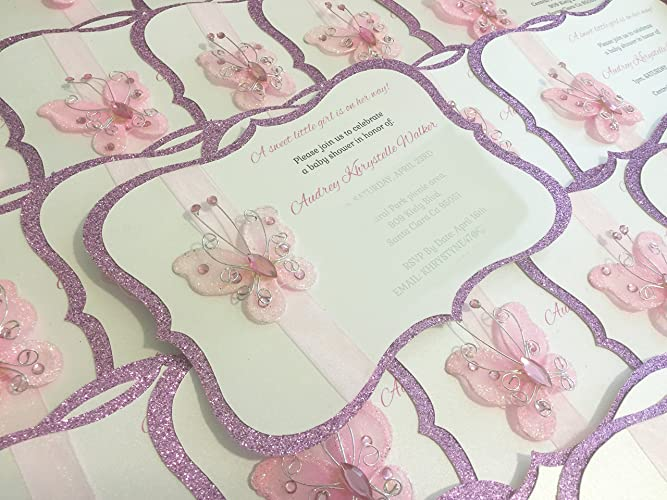 amazon com garden butterfly invitations handmade baby shower